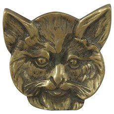 Cute Vintage Brass Cat Pin Tray, 3 ¼ Inches Wide
