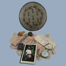 Edwardian Rowntree Chocolate Box Containing Antique Sewing Collectibles