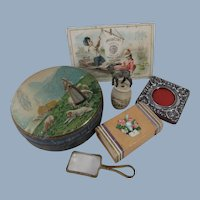 Antique Doll Accessories Including Miniature Magnifying Glass, Sterling Silver Photo Frame Etc