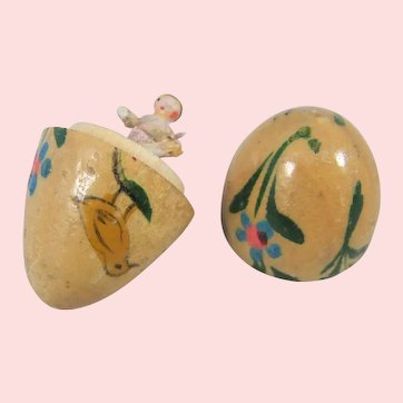 Tiniest Grodnertal/Peg Doll Inside Painted Wooden Miniature Egg