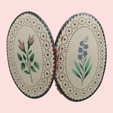 19th Century Hand Painted Oval Punched Paper Needle Case