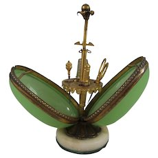 Palais Royal Green Glass Egg Sewing Etui & Tools, Mid-19th Century