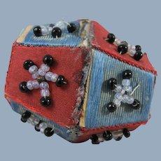 Charming 19th Century Bead, Silk & Card Pin Cushion