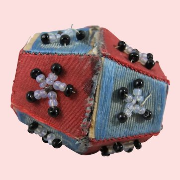 Charming 19th Century Bead, Silk & Card Pin Cushion