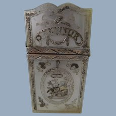 Beautiful Antique Mother of Pearl & Silver Etui Case