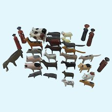 Mixed Collection of 32 Antique Erzgebirge Wooden Animals & People