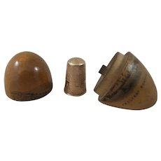 19th Century 14 Carat Gold Thimble Inside Mauchline Ware Thimble Egg