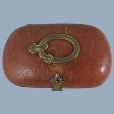 19th Century Leather Cased Sewing Necessaire for Doll/Child, 3 ¼ Inches