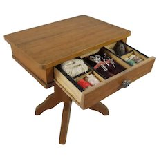 Circa 1910 Miniature German Schneegas Sewing Table With Miniature Sewing Accessories