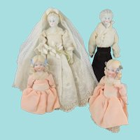 The Bridal Party – Fabulous German Shoulder Head Dolls – Bride, Groom & 2 Bridesmaids