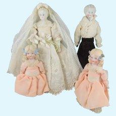 The Bridal Party – Fabulous German Shoulder Head Dolls – Bride, Groom & 2 Bridesmaids