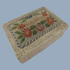 Charming French Sewing Box, 1830s, With Padded Theorem Pin Cushion Top