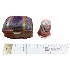 Miniature Antique Valise Thimble Case Containing Sterling Silver Thimble, 1907