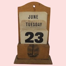 19th Century Mauchline Ware Bunker Hill Monument Perpetual Calendar