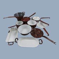 12 Pieces of Dolls Antique Russet & White Enamel Cook Ware