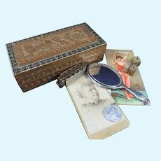 Pretty Antique Sandalwood Box, Miniature 1904 Silver Hand Mirror, Miniature Hohner Harmonica Etc