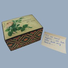 , Charming Small 19th Century Mauchline Ware 'Forget Me Not' Memento Box