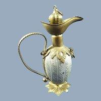 Antique Miniature Gilt Metal Scent Flagon/Bottle, 2 ½ Inches High