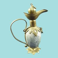 Antique Miniature Gilt Metal Scent Flagon/Bottle, 2 ½ Inches High