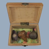 Three Miniature Antique Wooden Spinning Tops Inside Small Mauchline Ware Box