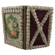Pretty Victorian Shell Decorated Needle Book With Rabbit Chromo