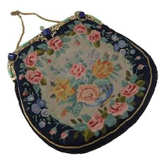 Superb 1930s Hand Made Petit Point Evening Bag With Embellishments, Signed & Dated