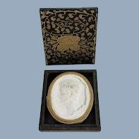 Antique Miniature Grand Tour Plaster Cameo In Pretty Lacquer Box