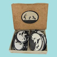 Small Rectangular Box, 2 ¾ Inches, Containing Oval Printed Silhouette Labels