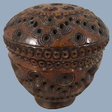 Beautiful 19th Carved Coquilla Nut Circular Box Containing Miniature Bone Dominoes