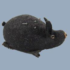 Cute Wild Boar Pin Cushion, Black Felt, Weighted