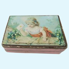 Sweet Antique Jeweller's Box Featuring Pretty Child Holding Letter, 2 Inches