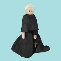 7-Inch Grodnertal Doll Dressed As Nun With 9 Carat White Gold Crucifix