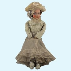 1920s Boudoir Doll, Cloth Body & Composition Face, 18 Inches