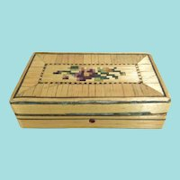 Small Straw-Work Box, 2 Inches, Perfect For Doll Accessories