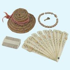 Antique Doll Fan, Comb, Bead Necklace & Straw Bonnet