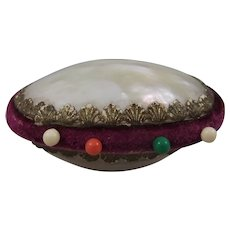Pretty Ovoid Mother of Pearl Pin Cushion
