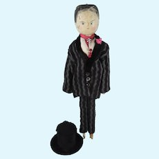 Male Grodnertal Doll, 11 ½ Inches, Dressed As An Edwardian Gentleman