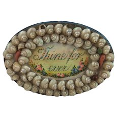 'Thine For Ever' Mid 19th Century Shell Work Pin Cushion