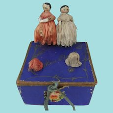 Pair Miniature Dressed Penny Wooden Dolls, 1 ½ Inches High, In Pretty French Box