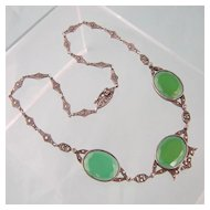 Stunning Art Deco Chrysoprase  Necklace with Marcasites, Marked Sterling, Germany