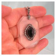 Distinctive Art Deco Glass, Onyx, Marcasite Pendant, Germany, Sterling Silver