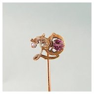 Antique 14K Gold Dragon Stick Pin with Diamond and Rose Tourmaline