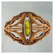 Large Art Nouveau Sash Pin Brooch in Gilt Brass with Faux Peridot, Strap Motif