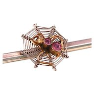 Small Art Deco Spider Brooch with Pastes