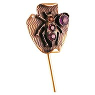 Antique Art Nouveau Stickpin with Bug, Four Paste Stones, Marked GW, Nice Design