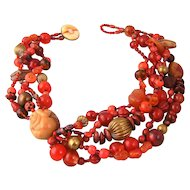 Vintage Bead Necklace in Orange with Netsuke Monkey and Stones