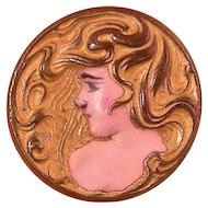 Antique Art Nouveau Repousse Enameled Pin, Woman with Flowing Hair, Miniature