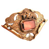 George N. Steere Sash Pin Brooch with Dragon, Citrine Glass Stone, Ornate Engraving