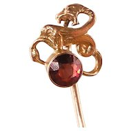 Antique Snake Stick Pin with Garnet, 14K Gold