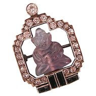 Art Deco Amethyst Buddha Brooch with Sparkling Pastes, 935 Silver
